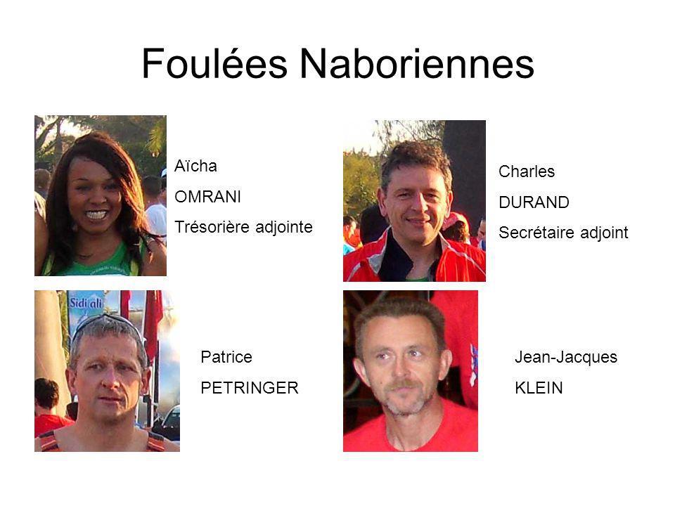 Foulées Naboriennes Aïcha OMRANI Trésorière adjointe Charles DURAND Secrétaire adjoint Patrice PETRINGER Jean-Jacques KLEIN