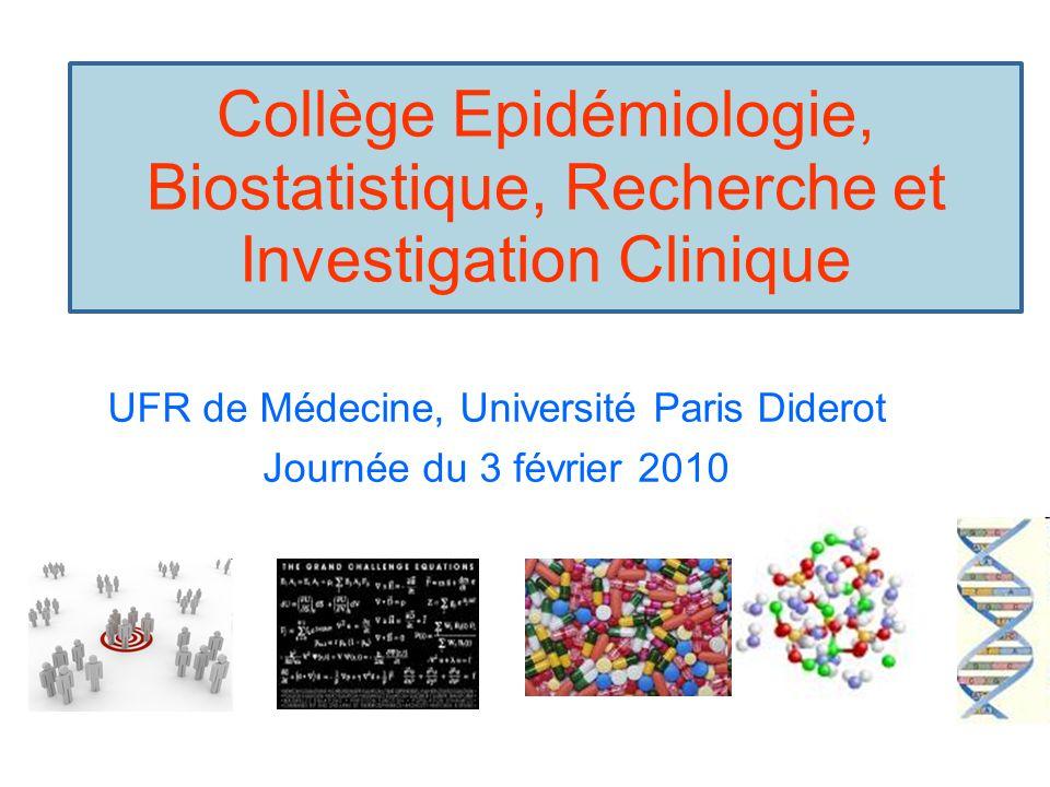 Collège Epidémiologie, Biostatistique, Recherche et Investigation Clinique UFR de Médecine, Université Paris Diderot Journée du 3 février 2010