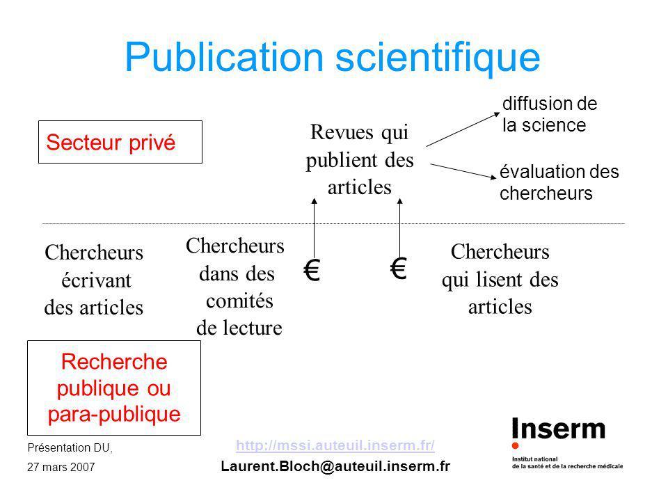 Présentation DU, 27 mars 2007 http://mssi.auteuil.inserm.fr/ Laurent.Bloch@auteuil.inserm.fr Publication scientifique Secteur privé Recherche publique