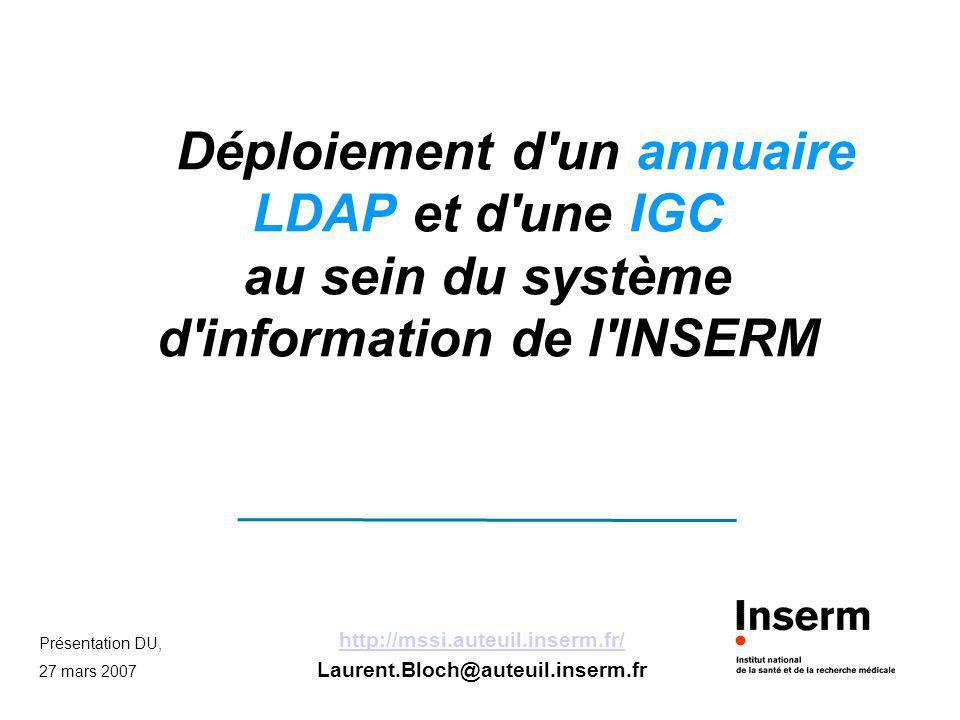 Présentation DU, 27 mars 2007 http://mssi.auteuil.inserm.fr/ Laurent.Bloch@auteuil.inserm.fr Déploiement d'un annuaire LDAP et d'une IGC au sein du sy