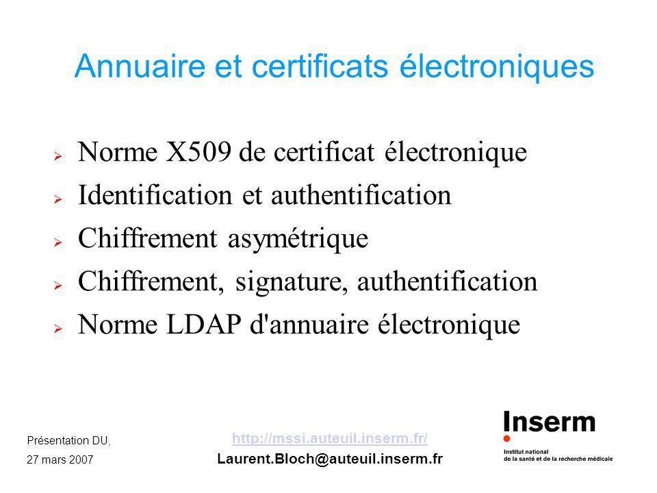 Présentation DU, 27 mars 2007 http://mssi.auteuil.inserm.fr/ Laurent.Bloch@auteuil.inserm.fr Annuaire et certificats électroniques Norme X509 de certi