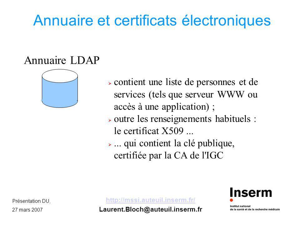 Présentation DU, 27 mars 2007 http://mssi.auteuil.inserm.fr/ Laurent.Bloch@auteuil.inserm.fr Usage des certificats L IGC ne sert qu à générer et délivrer les clés et les certificats.