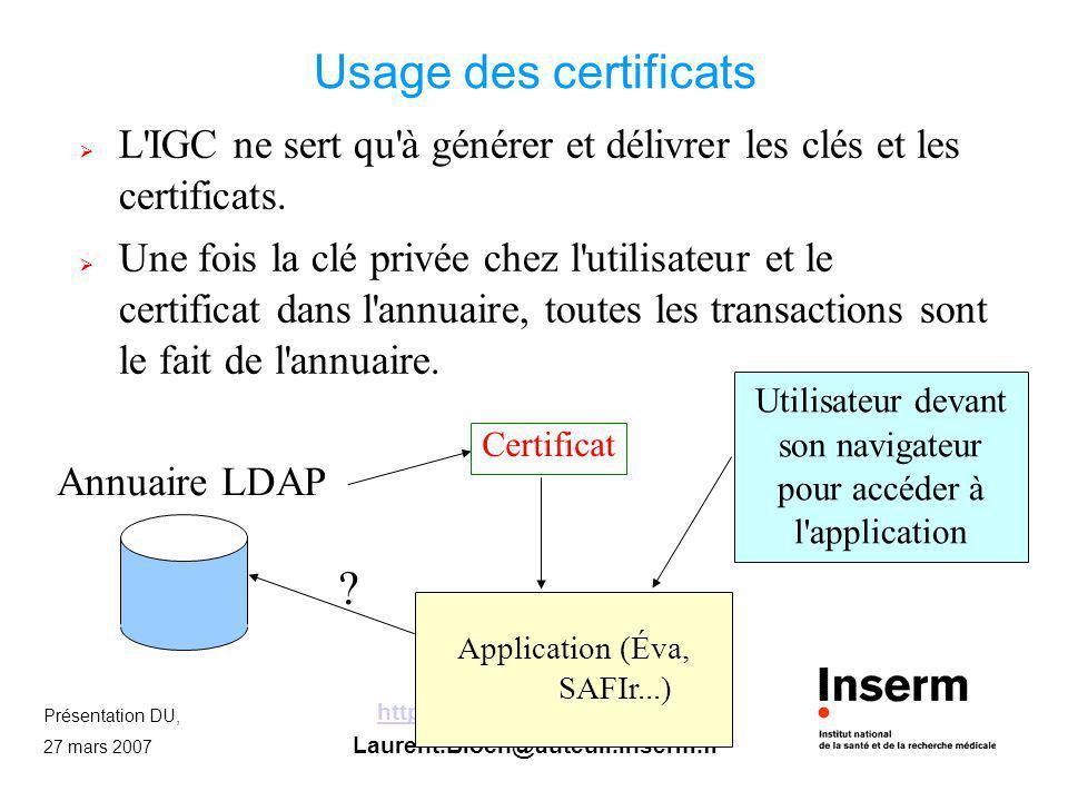 Présentation DU, 27 mars 2007 http://mssi.auteuil.inserm.fr/ Laurent.Bloch@auteuil.inserm.fr Usage des certificats L'IGC ne sert qu'à générer et déliv