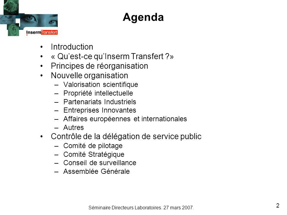 Séminaire Directeurs Laboratoires. 27 mars 2007. 2 Agenda Introduction « Quest-ce quInserm Transfert ?» Principes de réorganisation Nouvelle organisat