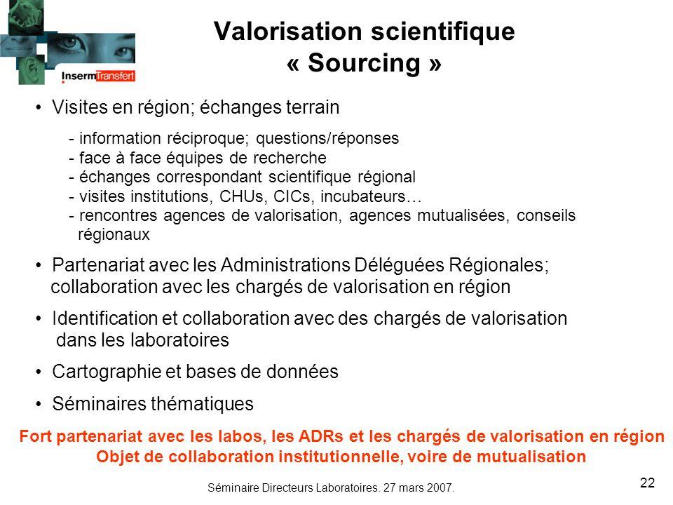 Séminaire Directeurs Laboratoires. 27 mars 2007. 22 Valorisation scientifique « Sourcing » Visites en région; échanges terrain - information réciproqu
