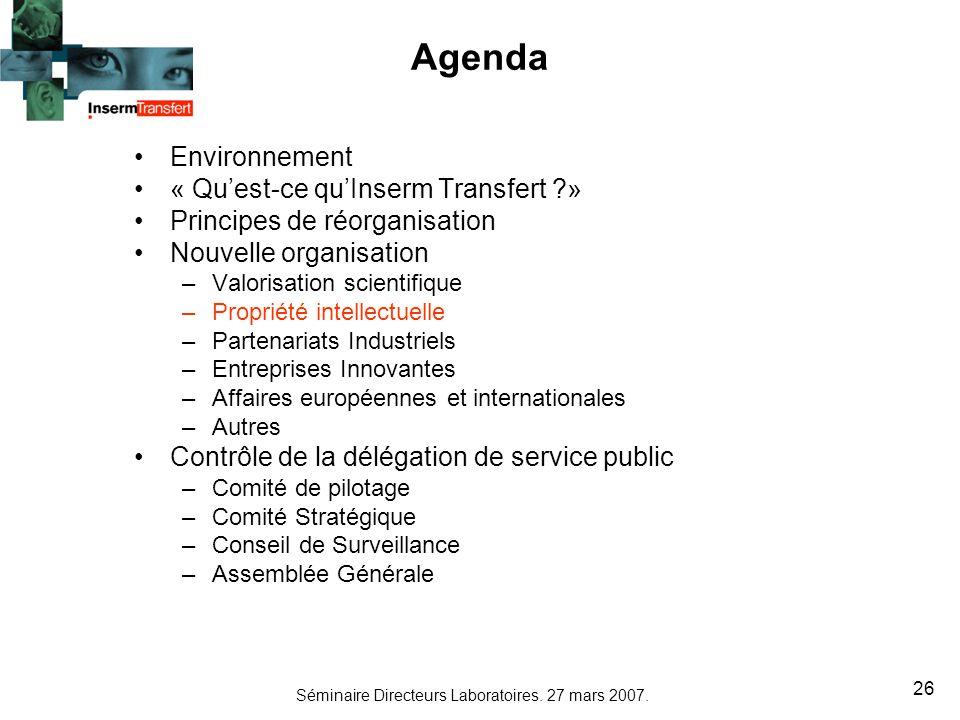 Séminaire Directeurs Laboratoires. 27 mars 2007. 26 Agenda Environnement « Quest-ce quInserm Transfert ?» Principes de réorganisation Nouvelle organis