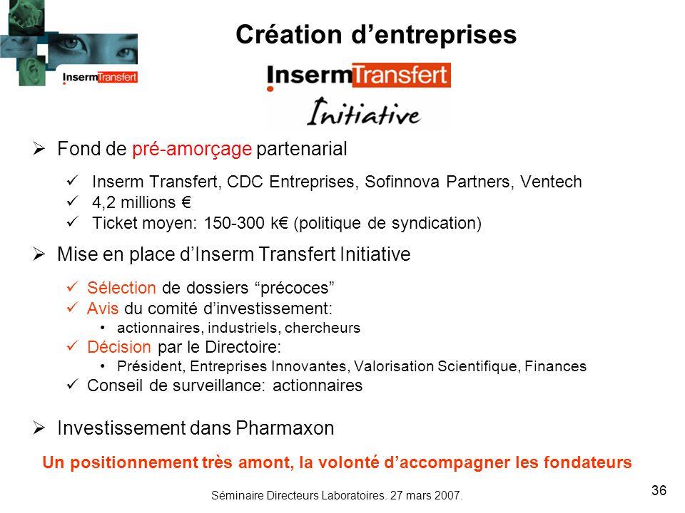 Séminaire Directeurs Laboratoires. 27 mars 2007. 36 Fond de pré-amorçage partenarial Inserm Transfert, CDC Entreprises, Sofinnova Partners, Ventech 4,