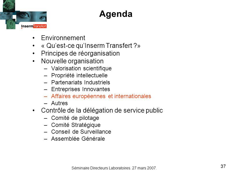 Séminaire Directeurs Laboratoires. 27 mars 2007. 37 Agenda Environnement « Quest-ce quInserm Transfert ?» Principes de réorganisation Nouvelle organis