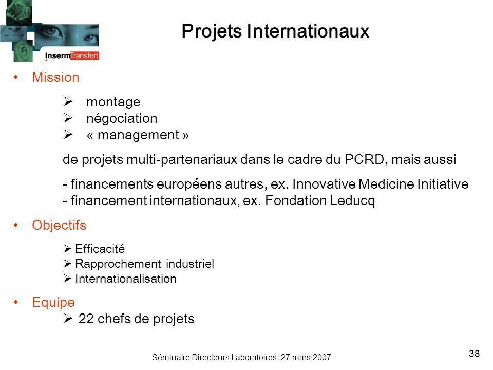 Séminaire Directeurs Laboratoires. 27 mars 2007. 38 Projets Internationaux Mission montage négociation « management » de projets multi-partenariaux da