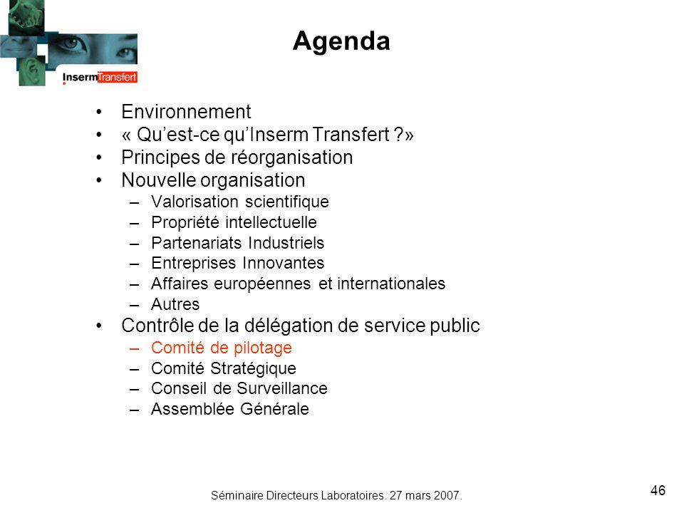 Séminaire Directeurs Laboratoires. 27 mars 2007. 46 Agenda Environnement « Quest-ce quInserm Transfert ?» Principes de réorganisation Nouvelle organis