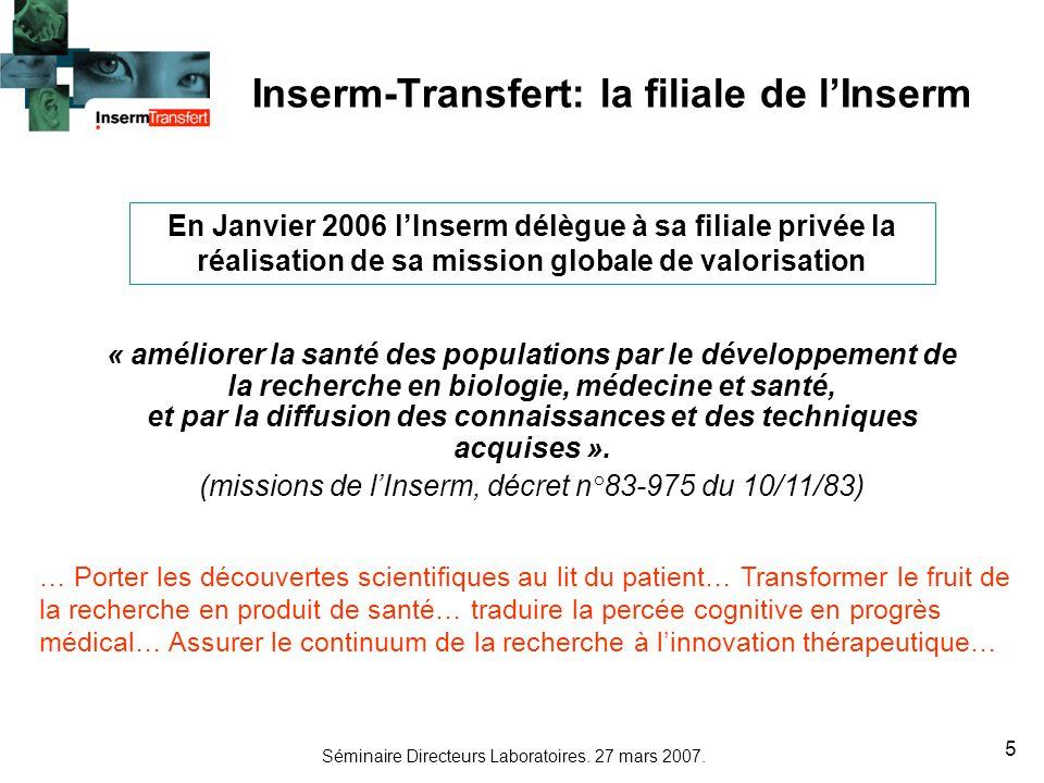 Séminaire Directeurs Laboratoires. 27 mars 2007. 5 Inserm-Transfert: la filiale de lInserm « améliorer la santé des populations par le développement d