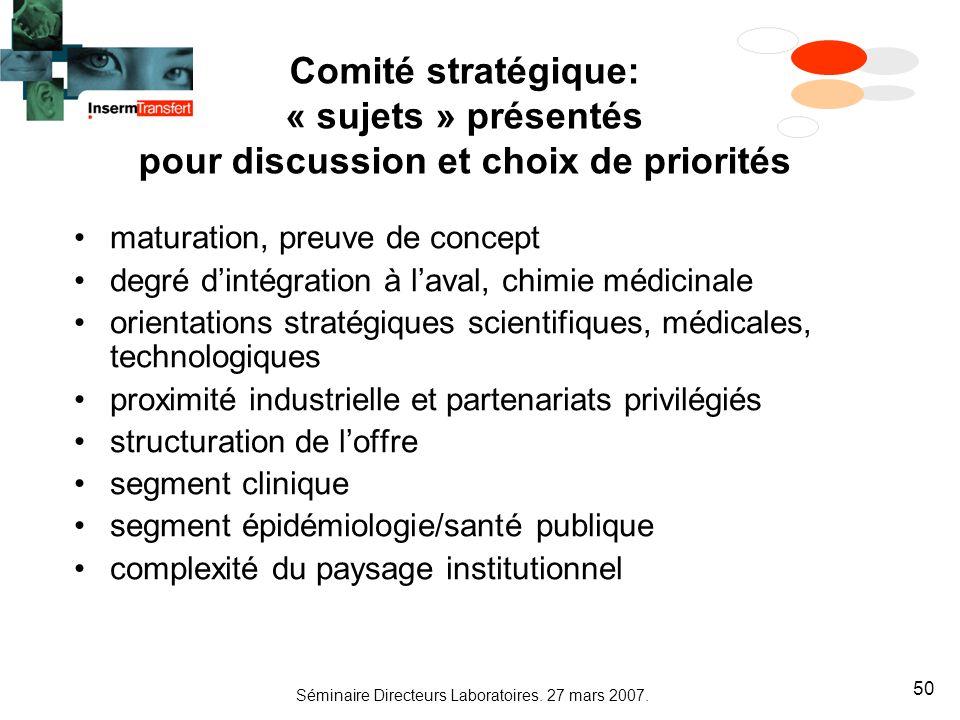 Séminaire Directeurs Laboratoires. 27 mars 2007. 50 Comité stratégique: « sujets » présentés pour discussion et choix de priorités maturation, preuve