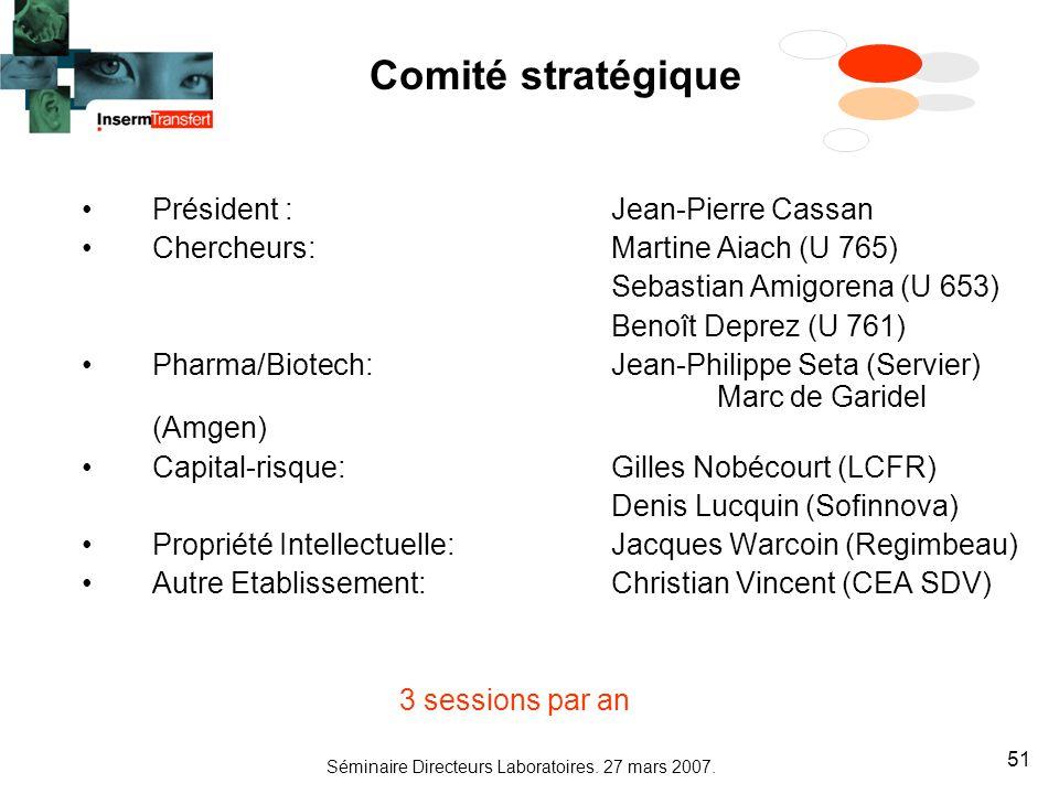 Séminaire Directeurs Laboratoires. 27 mars 2007. 51 Comité stratégique Président : Jean-Pierre Cassan Chercheurs: Martine Aiach (U 765) Sebastian Amig