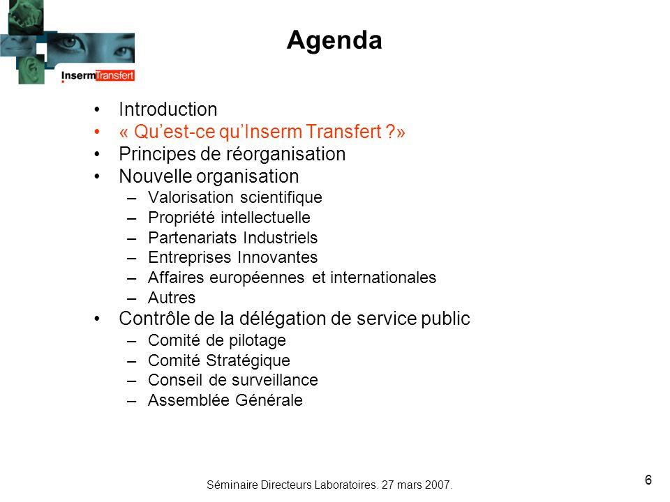 Séminaire Directeurs Laboratoires. 27 mars 2007. 6 Agenda Introduction « Quest-ce quInserm Transfert ?» Principes de réorganisation Nouvelle organisat