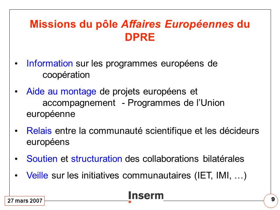 27 mars 2007 9 Missions du pôle Affaires Européennes du DPRE Information sur les programmes européens de coopération Aide au montage de projets europé