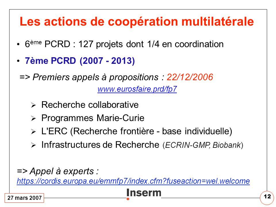 27 mars 2007 12 Les actions de coopération multilatérale 6 ème PCRD : 127 projets dont 1/4 en coordination 7ème PCRD (2007 - 2013) => Premiers appels