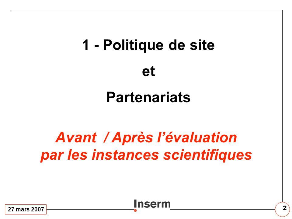 27 mars 2007 2 1 - Politique de site et Partenariats Avant / Après lévaluation par les instances scientifiques