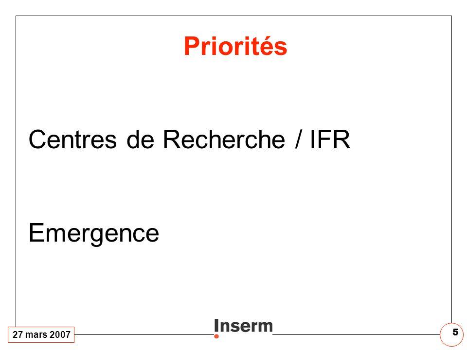 27 mars 2007 5 Priorités Centres de Recherche / IFR Emergence