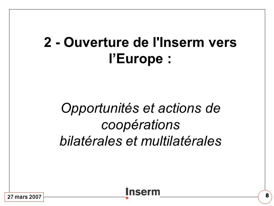 27 mars 2007 8 2 - Ouverture de l'Inserm vers lEurope : Opportunités et actions de coopérations bilatérales et multilatérales