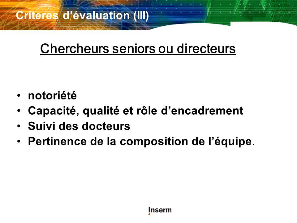 Criteres dévaluation (III) notoriété Capacité, qualité et rôle dencadrement Suivi des docteurs Pertinence de la composition de léquipe.