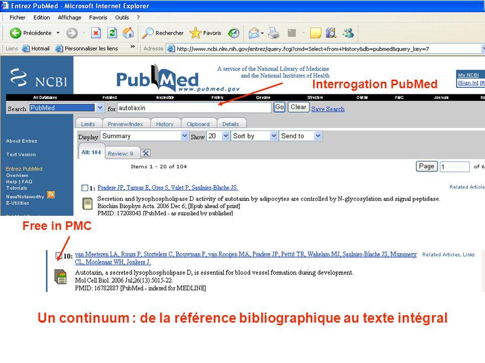 Interrogation PubMed Free in PMC Un continuum : de la référence bibliographique au texte intégral