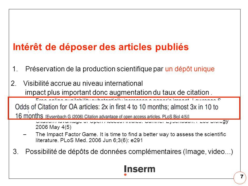 7 Intérêt de déposer des articles publiés 1.Préservation de la production scientifique par un dépôt unique 2.Visibilité accrue au niveau international