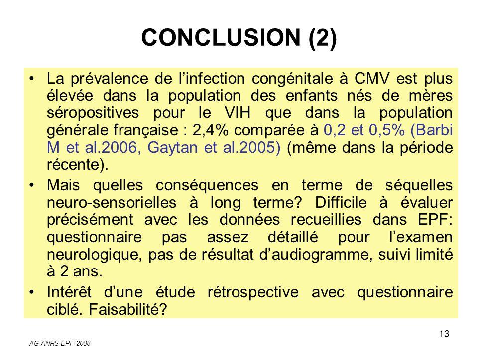 AG ANRS-EPF 2008 13 La prévalence de linfection congénitale à CMV est plus élevée dans la population des enfants nés de mères séropositives pour le VI