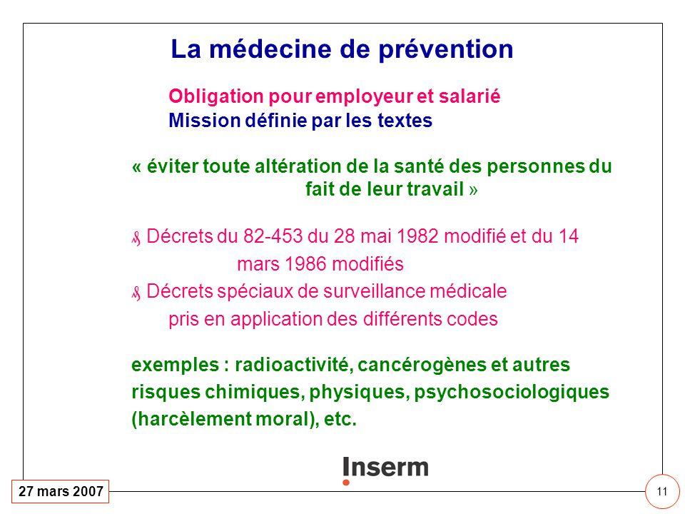 11 27 mars 2007 Obligation pour employeur et salarié Mission définie par les textes « éviter toute altération de la santé des personnes du fait de leu