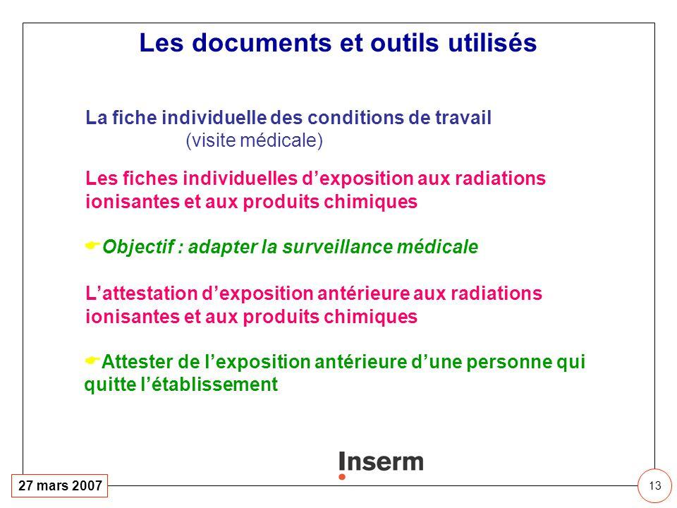 13 27 mars 2007 La fiche individuelle des conditions de travail (visite médicale) Les fiches individuelles dexposition aux radiations ionisantes et au