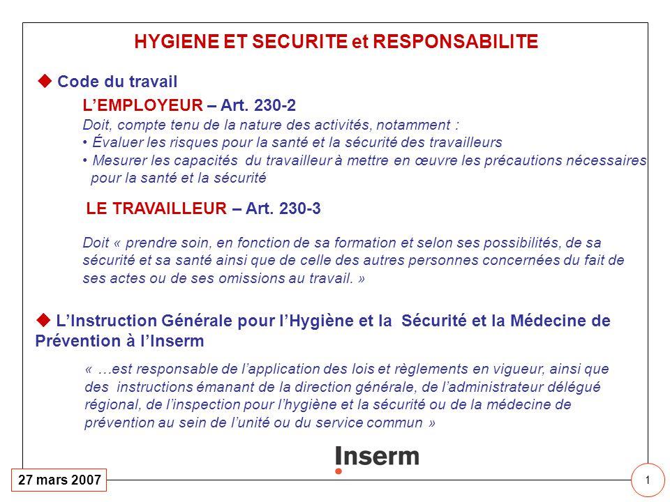 1 27 mars 2007 Code du travail LEMPLOYEUR – Art. 230-2 Doit, compte tenu de la nature des activités, notamment : Évaluer les risques pour la santé et