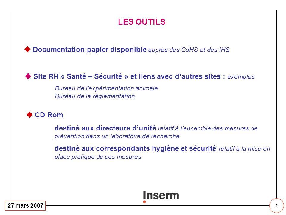 4 27 mars 2007 LES OUTILS Documentation papier disponible auprès des CoHS et des IHS Site RH « Santé – Sécurité » et liens avec dautres sites : exempl
