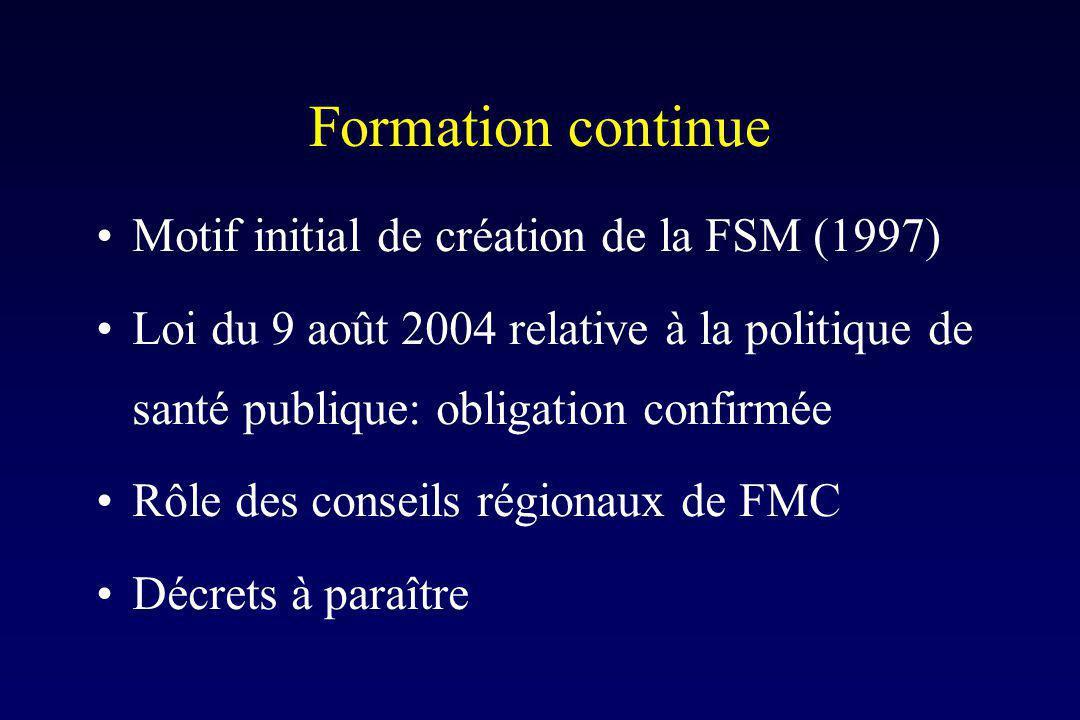 Formation continue Motif initial de création de la FSM (1997) Loi du 9 août 2004 relative à la politique de santé publique: obligation confirmée Rôle des conseils régionaux de FMC Décrets à paraître