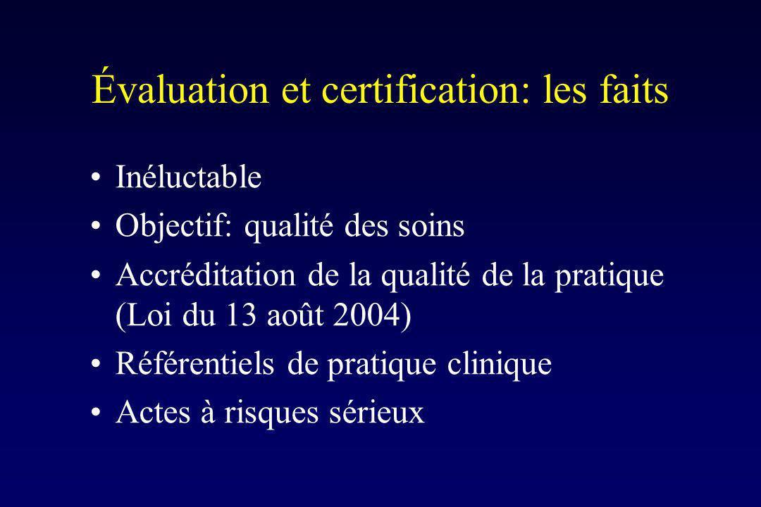 Évaluation et certification: les faits Inéluctable Objectif: qualité des soins Accréditation de la qualité de la pratique (Loi du 13 août 2004) Référentiels de pratique clinique Actes à risques sérieux