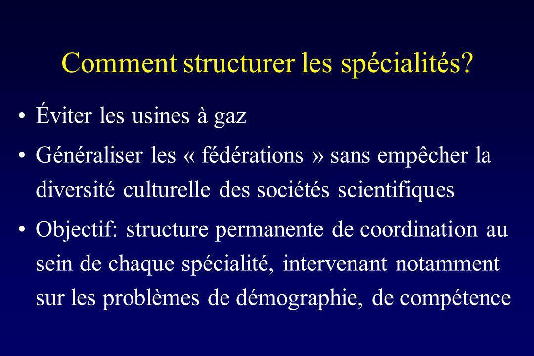 Comment structurer les spécialités? Éviter les usines à gaz Généraliser les « fédérations » sans empêcher la diversité culturelle des sociétés scienti