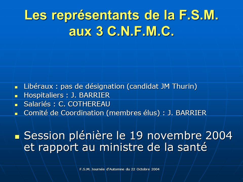 F.S.M. Journée d Automne du 22 Octobre 2004 Les représentants de la F.S.M.