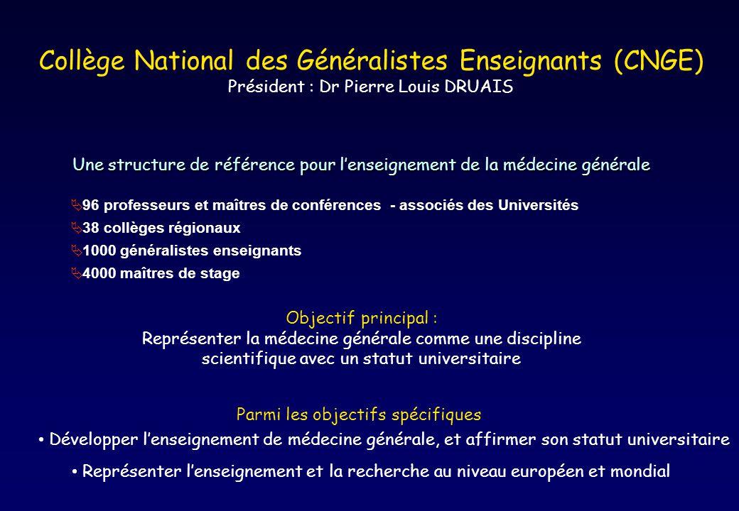 Collège National des Généralistes Enseignants (CNGE) Président : Dr Pierre Louis DRUAIS Une structure de référence pour lenseignement de la médecine g