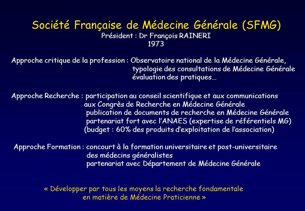 Société Française de Médecine Générale (SFMG) Président : Dr François RAINERI 1973 Approche critique de la profession : Observatoire national de la Mé
