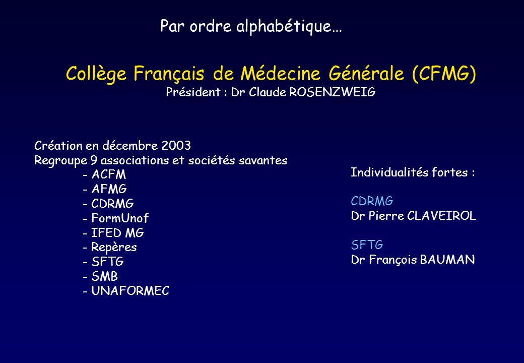 Par ordre alphabétique… Collège Français de Médecine Générale (CFMG) Président : Dr Claude ROSENZWEIG Création en décembre 2003 Regroupe 9 association