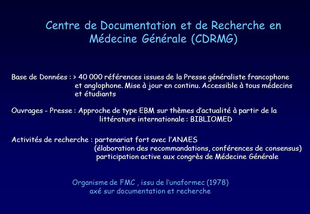 Centre de Documentation et de Recherche en Médecine Générale (CDRMG) Base de Données : > 40 000 références issues de la Presse généraliste francophone