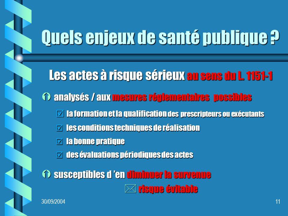 30/09/200411 Quels enjeux de santé publique . Les actes à risque sérieux au sens du L.