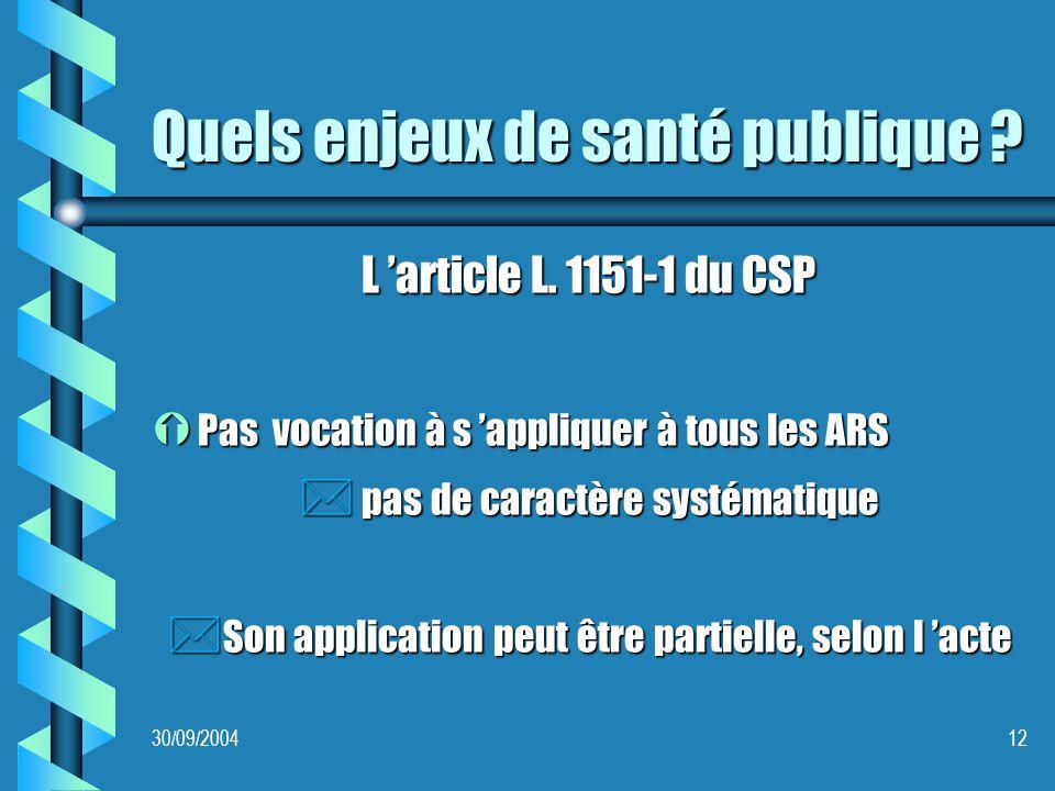 30/09/200412 Quels enjeux de santé publique . L article L.