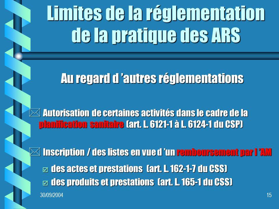 30/09/200415 Limites de la réglementation de la pratique des ARS Au regard d autres réglementations * Autorisation de certaines activités dans le cadre de la planification sanitaire (art.