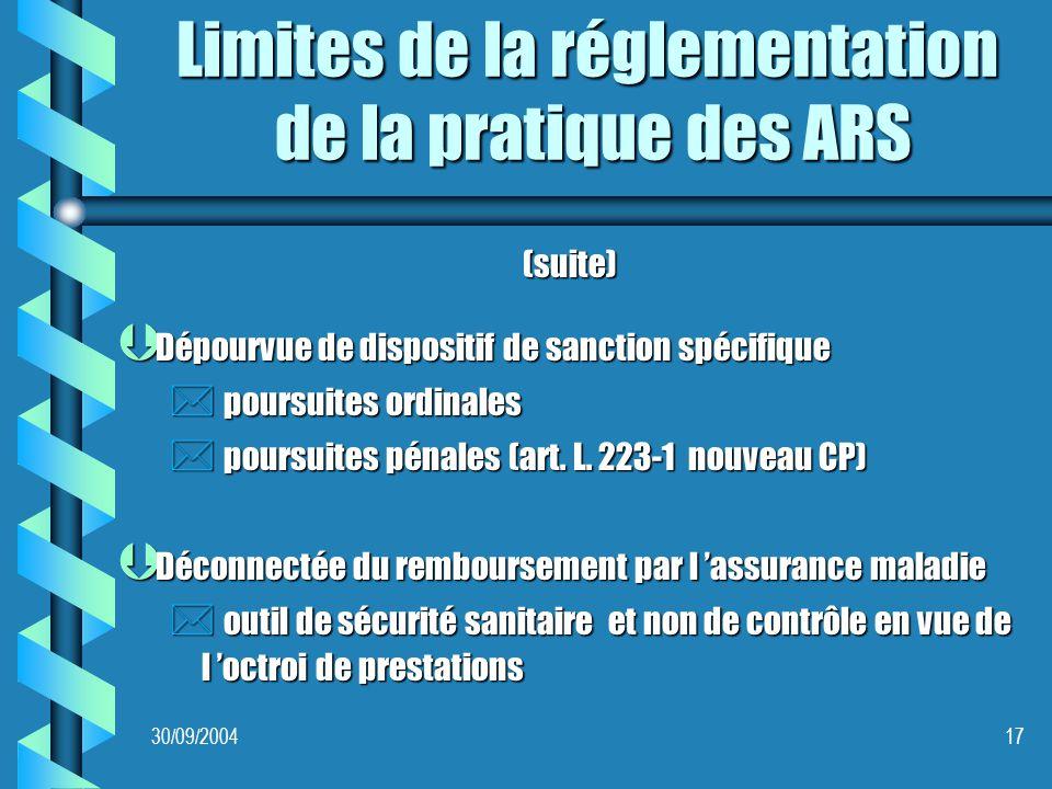 30/09/200417 Limites de la réglementation de la pratique des ARS (suite) Þ Dépourvue de dispositif de sanction spécifique * poursuites ordinales * poursuites pénales (art.