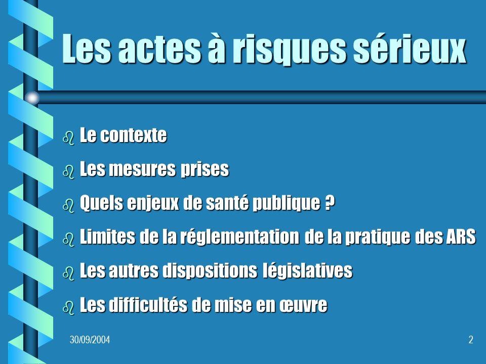 30/09/20042 Les actes à risques sérieux b Le contexte b Les mesures prises b Quels enjeux de santé publique .