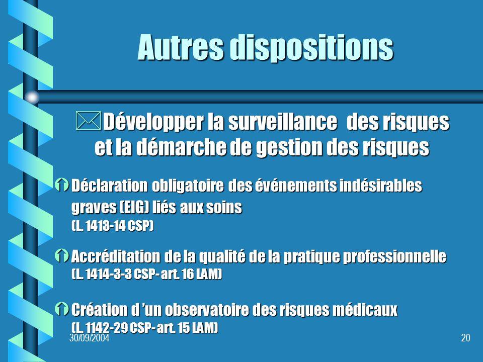 30/09/200420 Autres dispositions * Développer la surveillance des risques et la démarche de gestion des risques Ý Déclaration obligatoire des événements indésirables graves (EIG) liés aux soins (L.