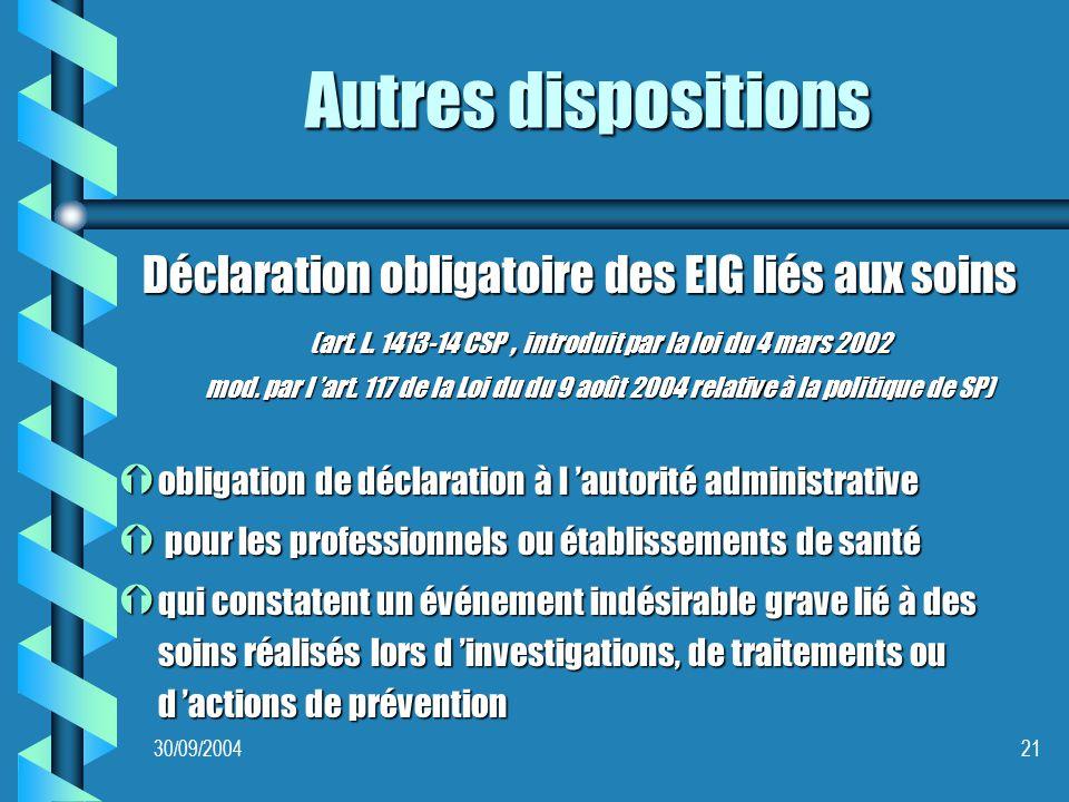 30/09/200421 Autres dispositions Déclaration obligatoire des EIG liés aux soins (art.