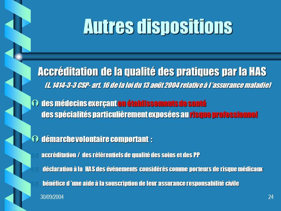 30/09/200424 Autres dispositions Accréditation de la qualité des pratiques par la HAS (L.