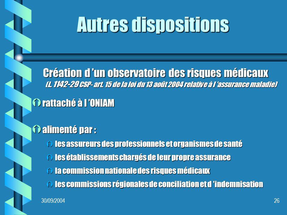 30/09/200426 Autres dispositions Création d un observatoire des risques médicaux (L.