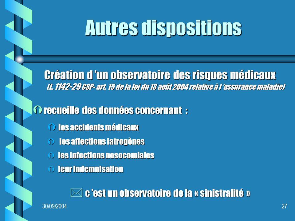 30/09/200427 Autres dispositions Création d un observatoire des risques médicaux (L.