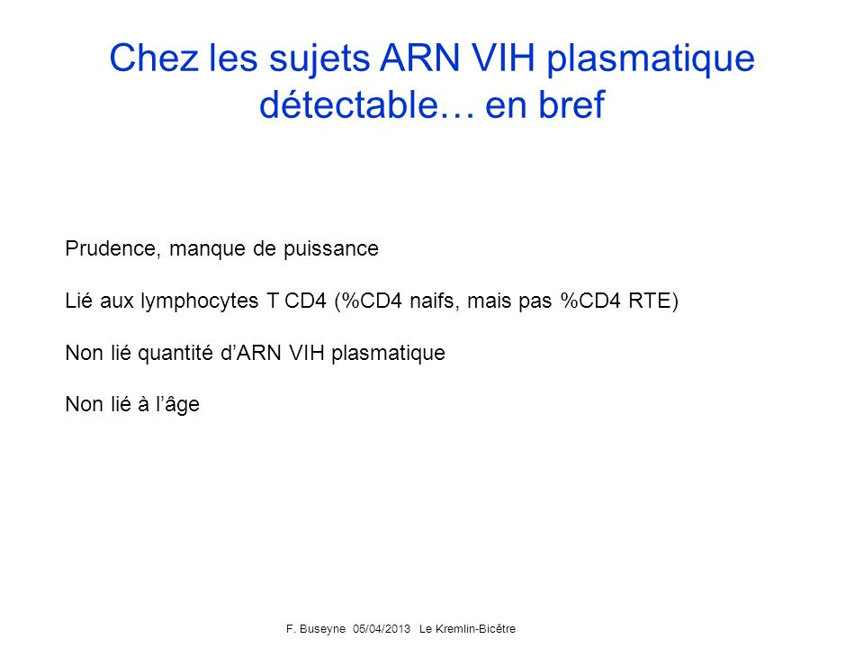 F. Buseyne 05/04/2013 Le Kremlin-Bicêtre Analyses multivariées Sujets ARN VIH indétectable-%CD4 RTE CD4 RTE (% among naive CD4) Estimate[ 95% CI]P Age
